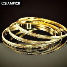 Buy 3x Stack Thai Baht Yellow Gold GP 24k Hoop Bangle Bracelet Vintage Jewelry GF 39