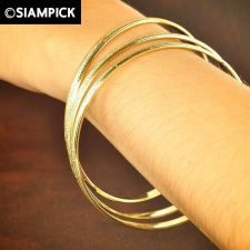 Buy 3x Stacked Thai Baht 22k 24k Yellow Gold Plated GP Bangle Bracelet Jewelry B039