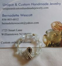 Buy lung cancer awareness glass beaded stretch handmade ring