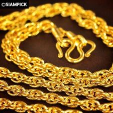"""Buy 24"""" Thai Baht Yellow Gold Pendant Rope Chain Necklace 22k 24k GP Jewelry N050"""