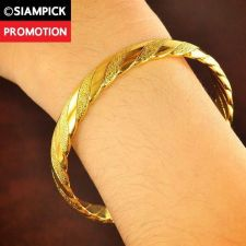Buy Thai 22k 24k Baht Yellow Gold Plated Braided Bracelet Bangle Dangle Jewelry B003