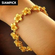 Buy 22k 24k Thai Baht Yellow Gold Plated GP Heart Chain Bangle Bracelet Jewelry B094