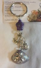 Buy turtle anchor shell and starfish purple and clear handmade keyring