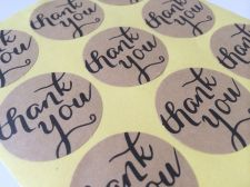 Buy US Seller Set of 72 Kraft Thank You Round/Heart Sticker