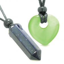 Buy Yin Yang Crystal Point Heart Donut Love Couple Blue Goldstone Green Simulated Cats Ey