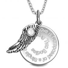 Buy Love is Composed of a Single Soul Inspirational Simulated Cats Eye Angel Wing Amulet