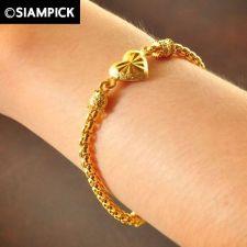 Buy 22k 24k Chain Thai Baht Yellow Gold GP Bangle Bracelet Solid Look Jewelry B140