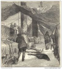 Buy NORTH POLE - THE WINTER PREPARATIONS - engraving from 1874