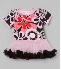 Buy Black And Pink Flower Tutu Body Suit