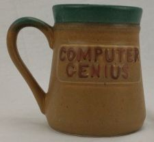 Buy Computer Genius Large pottery Coffee Mug hand crafted Stoneware I.T. Department