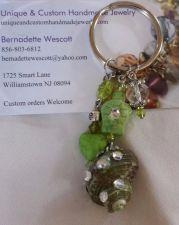 Buy turtle shell and heart green handmade keyring
