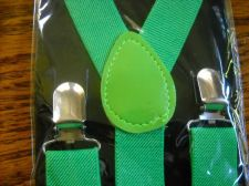 Buy New Suspenders Green retail packaged adult elastic leather Y back metal clip