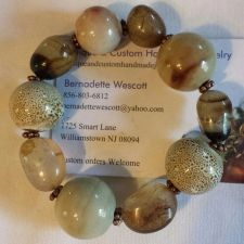 Buy brown porcelain and natural stones handmade bracelet sizing available