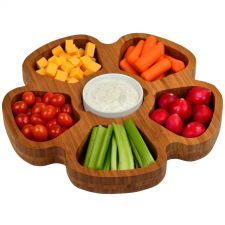 Buy Tray Serving Petal Bamboo kitchen Garden Dining 5 Section Round Ceramic Bowl Set