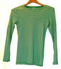 Buy EUC women's, Sz. S/P, Old Navy, green/white stripe, crew neck long sleeve, shirt