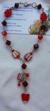 Buy butterfly red and silver glass beaded handmade anklet sizing available