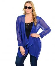 Buy Causal Trendy Plus Size Blue Sheer Cardigan Top with Faux & Zipper Accent Hi-Low