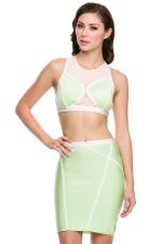 Buy WOW COUTURE Sexy Green & White Two Piece Bandage bodycon with sheer mesh S,M