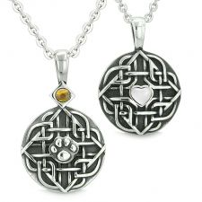 Buy Amulets Love Couple or Best Friends Celtic Shield Wolf Paw Heart Tiger Eye Blue Golds