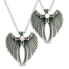 Buy Angel Wings Celtic Magic Cross Love Couple or Best Friends Pink and White Simulated C