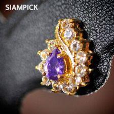 Buy CZ Gems Thai 22k 23k 24k Yellow Gold Baht Real GP Stud Earrings Jewelry New E015