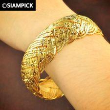 Buy 22k 24k Thai Baht Yellow Gold Plated Braid Bracelet Bangle Dangle Jewelry B029