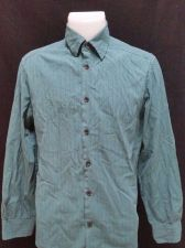 Buy DKNY Mens Small Dress Shirt Green Stripe Button Front L/S