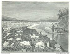 Buy CHINA (FORMOSA) - RIVER LA-LUNG DURING THE DRY SEASON - engraving from 1875
