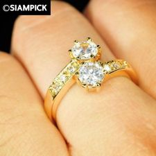 Buy 24k CZ Round Shape Thai Baht Yellow Gold GP Wedding Ring Size 6 7 8 Jewelry R015