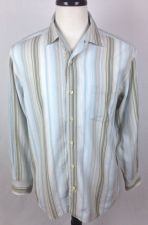 Buy Tommy Bahama Shirt M Mens Blue Stripe Long Sleeve