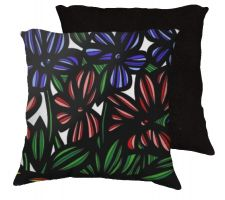 Buy Hitzel 18x18 Blue Red Green White Black Pillow Flowers Floral Botanical Cover Cushion