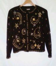 Buy EUC women's, sz. S, STUDIO, black, long sleeve, bead enhanced, cardigan, sweater