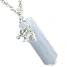 Buy Lucky Elephant Charm Magic Powers Amulet Crystal Point Pendant Blue Lace Agate 22 Inc