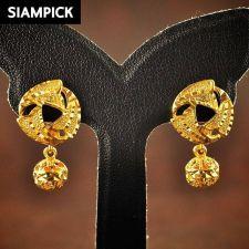Buy Thai Baht 22k 23k Yellow Gold Plated GP Huggie Dangle Earrings Jewelry New E034