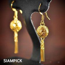 Buy Thai 22k 24k Yellow Gold Baht Real GP Vintage Long Earrings Dangle Jewelry E009