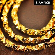 "Buy Thai Chain Necklace Baht Yellow Gold Plated 22k 24k GP Rope Men 24"" Jewelry N044"