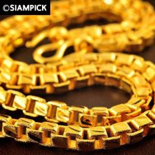 "Buy 28"" Thai 22k 24k Baht Yellow Gold GP Box Chain Mens Hip Necklace Long Jewelry 20"