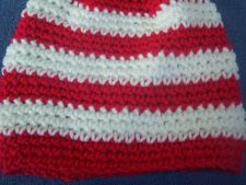 Buy Hand Crocheted Red and White Stripe Single Crochet Baby Hat