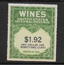 Buy US Internal Revenue $1.92 Wine Tax Stamp RE152 Series 1941 Mint NH Lot #2