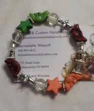 Buy star and moon brown green and peach handmade bracelet sizing available