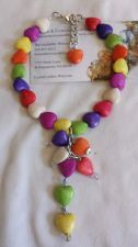 Buy heart multi colored dangling hearts handmade anklet sizing available