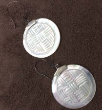 Buy Balinese Round Shell Earrings w/ Texture Design 925 Sterling Silver Artisan New