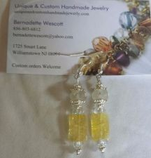 Buy yellow ice flake quartz and swarovski crystal silver plated handmade earrings