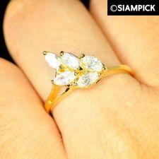 Buy CZ Marquise 22k 24k Thai Baht Yellow Gold GP Wedding Ring Size 6 7 8 Jewelry R19