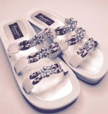 Buy Grandco Cheetah Jeweled Sandals Flip Flop Slide Pools Beach Resort White 6,7.9
