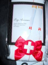 Buy Leg Ave Nurse thigh-highs woman stockings white red seam bow