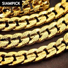"""Buy 26"""" Thai Baht 22k 23k 24k Yellow Gold Plated Cuban Curb Chain Link Necklace N029"""