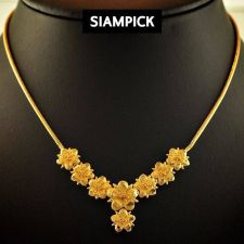 "Buy Flower 18"" Thai Baht Yellow Gold GP Chain Necklace 22k 24k Jewelry Pendant N058"