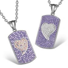 Buy Magic Hearts Austrian Crystal Love Couples or Best Friends Dog Tag Purple and Rainbow