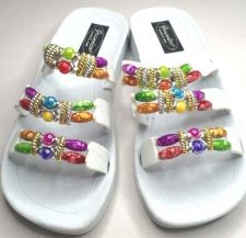 Buy New Grandco Beaded Sandals Flip Flop Slides Women Footwear Pools Beach 22589 WHT